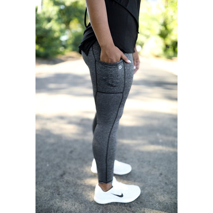 Black heathered leggings by Honey Athletica