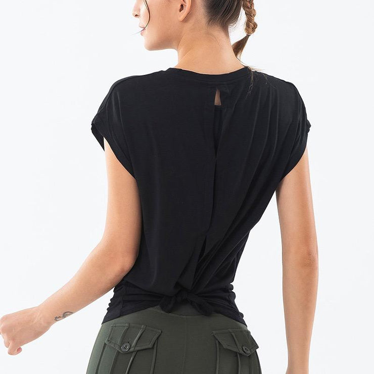 THE LOUNGY TIE BACK - BLACK-T-shirt-Honey Athletica