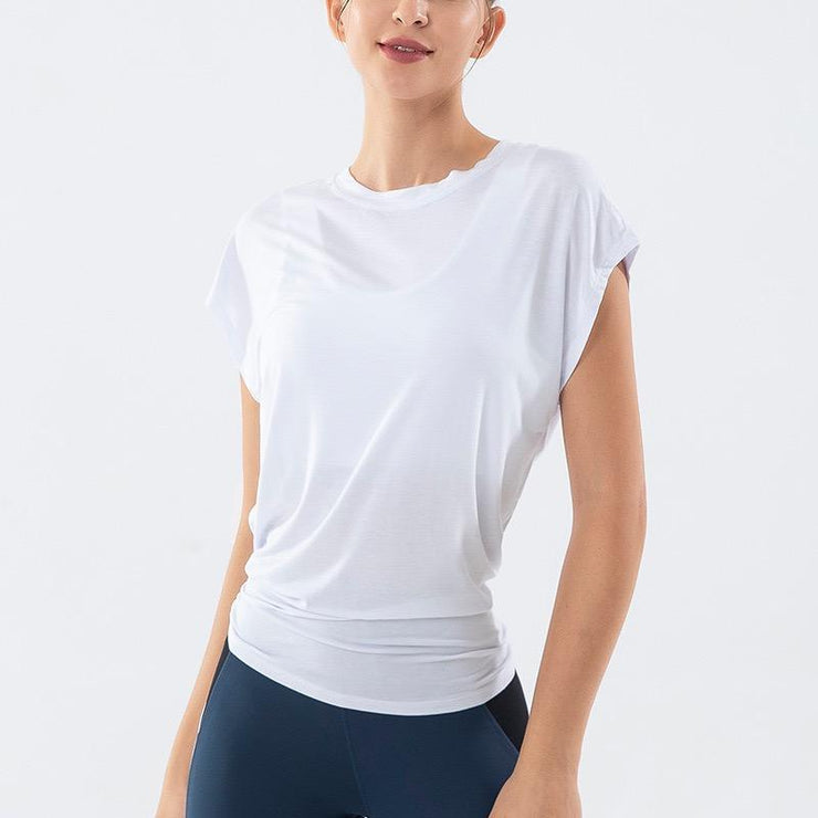THE LOUNGY TIE BACK - WHITE-T-shirt-Honey Athletica