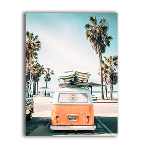 Palm Trees & Travel Van Poster