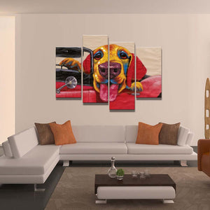4 Piece Lovely Dog Art