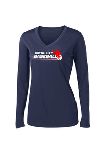 Ladies V-Neck Long Sleeve Performance Shirt