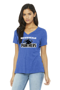 Panthers Women's Relaxed Jersey Short Sleeve V-Neck Tee