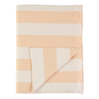 Peach & Ivory Striped Knitted Blanket<br>by Meri Meri