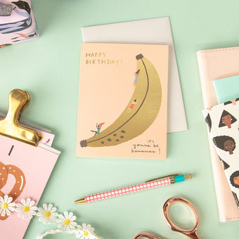 Banana Slide Greeting Card by Carolyn Suzuki