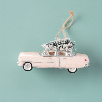 Classic Pink Car With Mini Flocked Tree Ornament