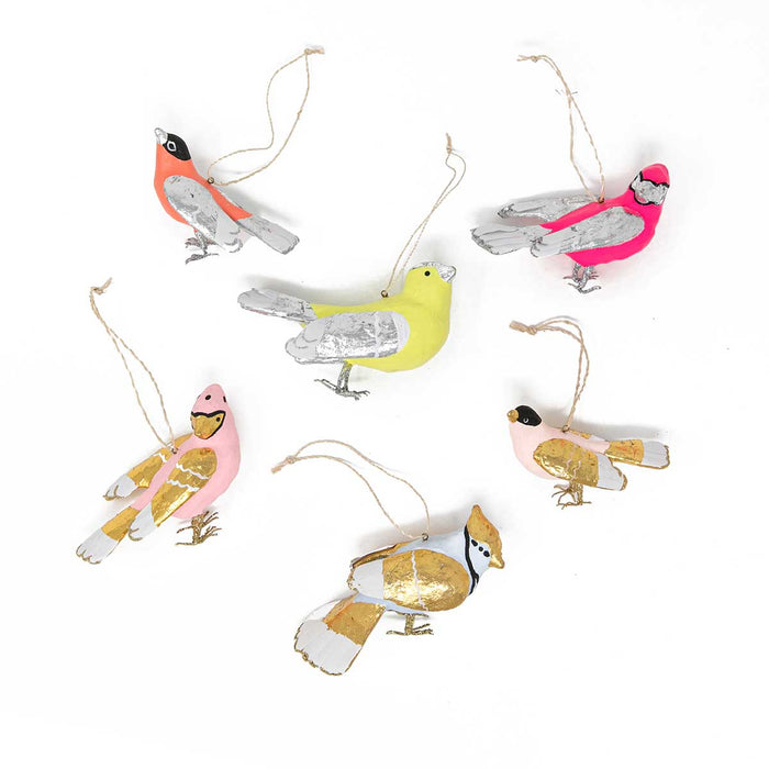 Colorful Songbird Ornaments<br>Set of 6