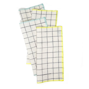 "Blue/Citron Edge 11"" Square Set of 4 Dinner Napkins by The Everyday Co."