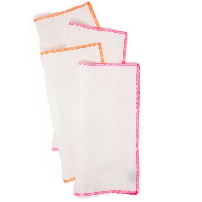 "Pink/Orange Edge 11"" Square<br> Set of 4 Dinner Napkins <br> by The Everyday Co."