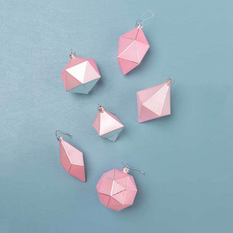 Geometric Pink Ornaments<br> Set of 6
