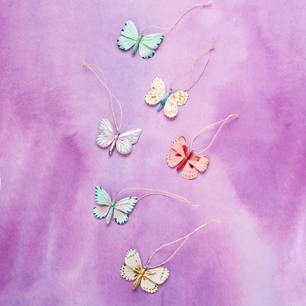 Colorful Mini Butterfly Ornaments <br> Set of 6