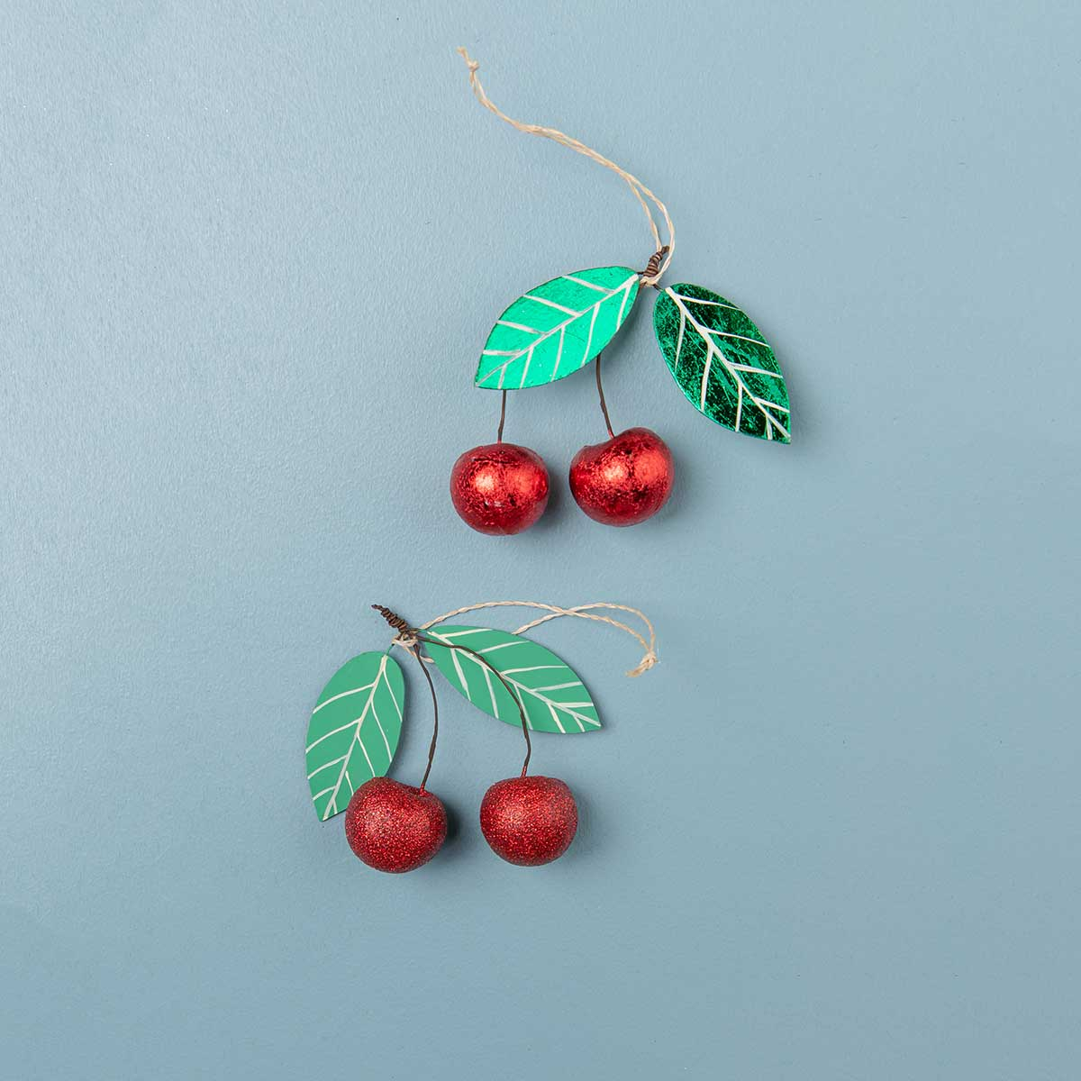 Glittered Cherry Ornaments<br>Set of 2
