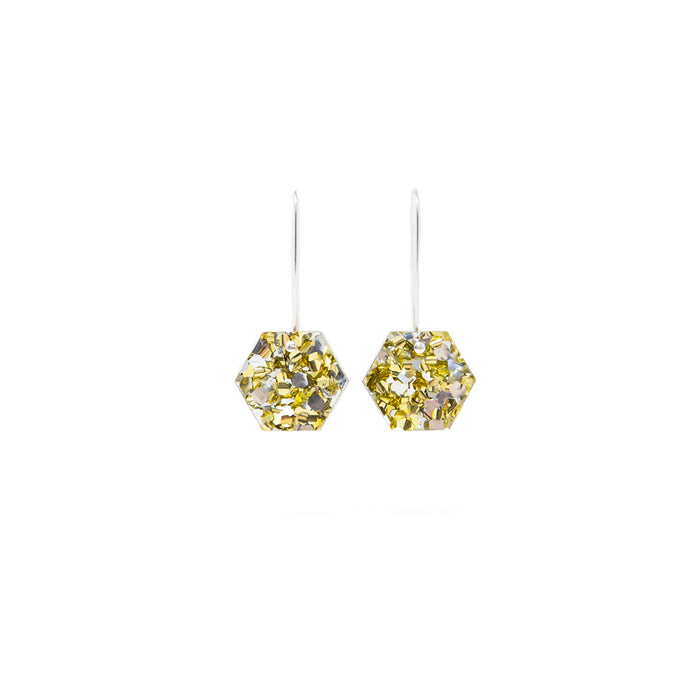 Gold Hexagon Drop Earrings <br> Each To Own