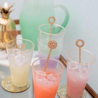 Swizzle Sticks in Gold Glitter<br>Set of 4 <br>by Anne & Kate
