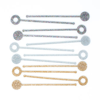 Sale Swizzle Sticks in Silver Glitter Set of 4 by Anne & Kate