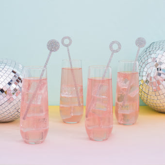 Swizzle Sticks in Silver Glitter<br>Set of 4 <br>by Anne & Kate