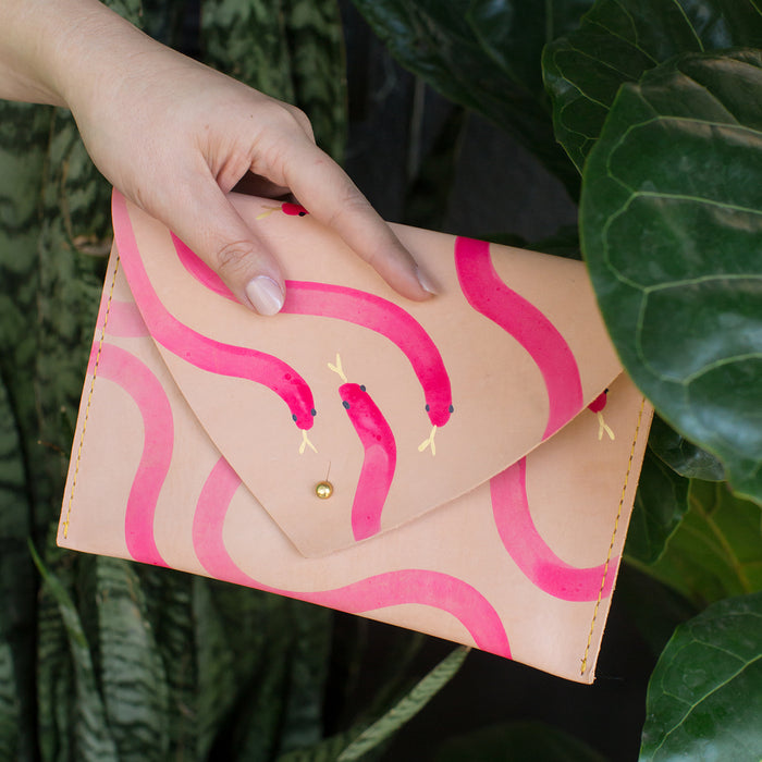 Snake Leather Clutch <br> by Lillian Farag