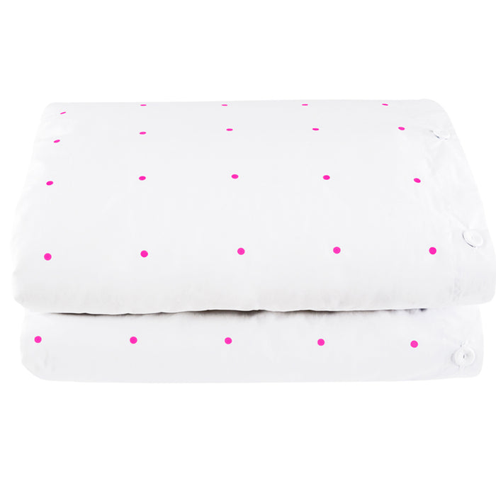Pegboard Hot Pink Cotton Duvet Cover by Castle