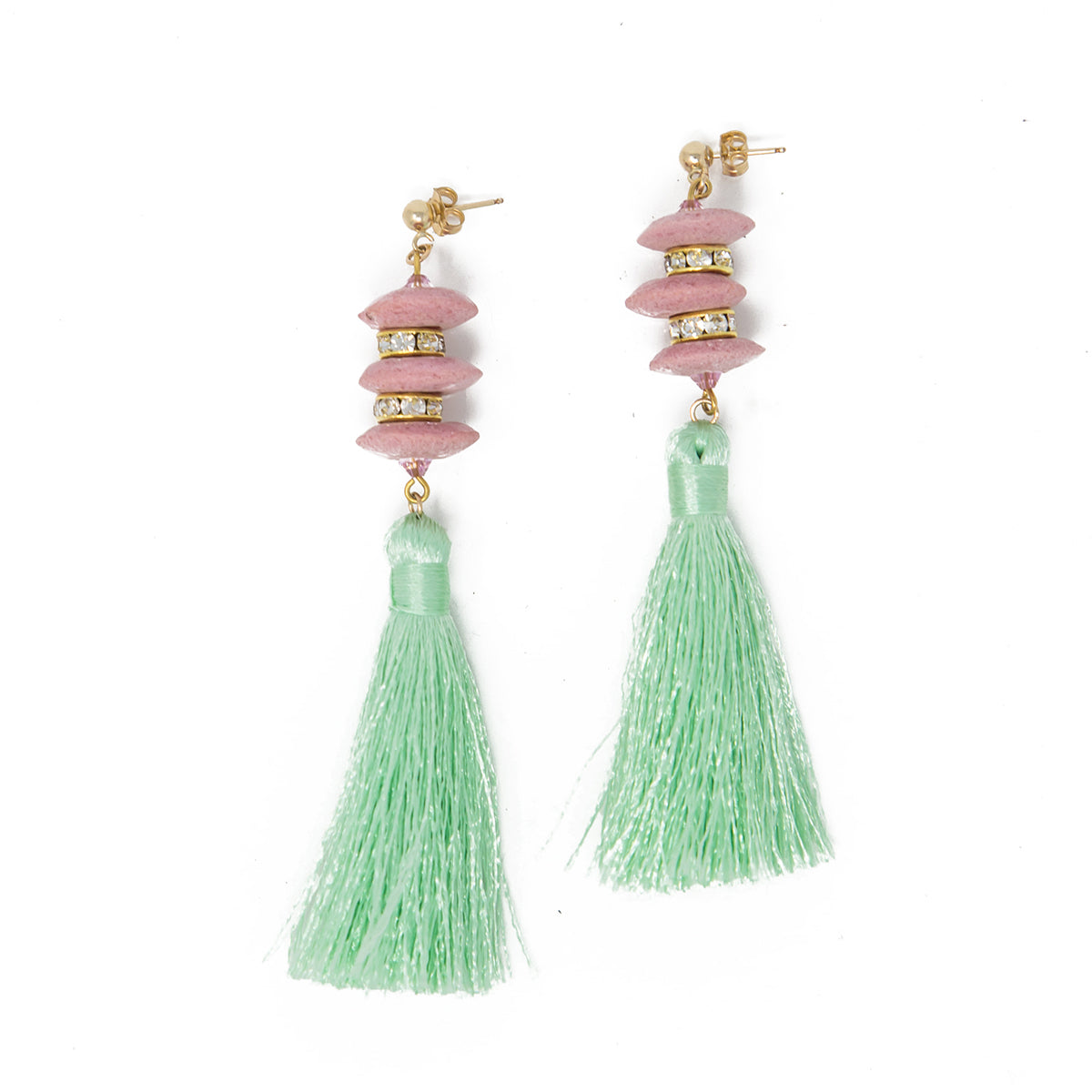 Mint and Pink Pagoda Tassel Earrings by SJO Jewelry