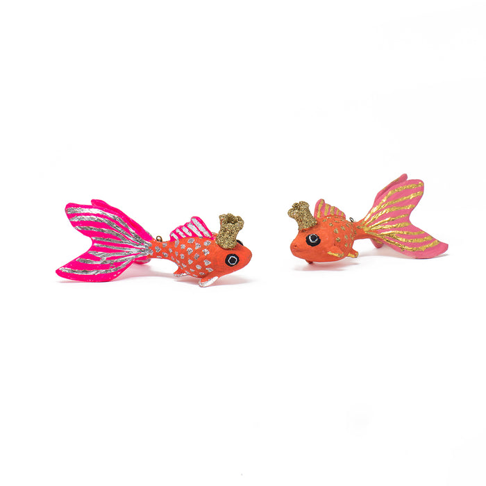 Happy Fish Ornaments with Gold Crowns <br> Set of 2