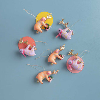 Pastel Sloth Ornaments<br> Set of 2