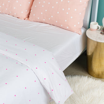 Pegboard Hot Pink Cotton Duvet Cover<br>by Castle