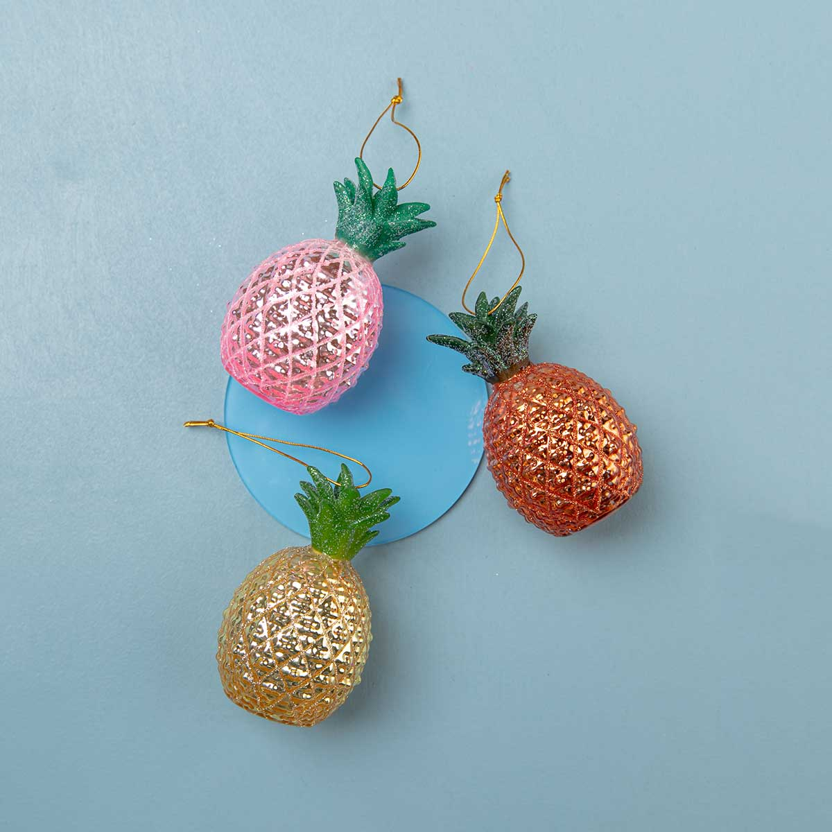 Pineapple Ornaments <br> Set of 3