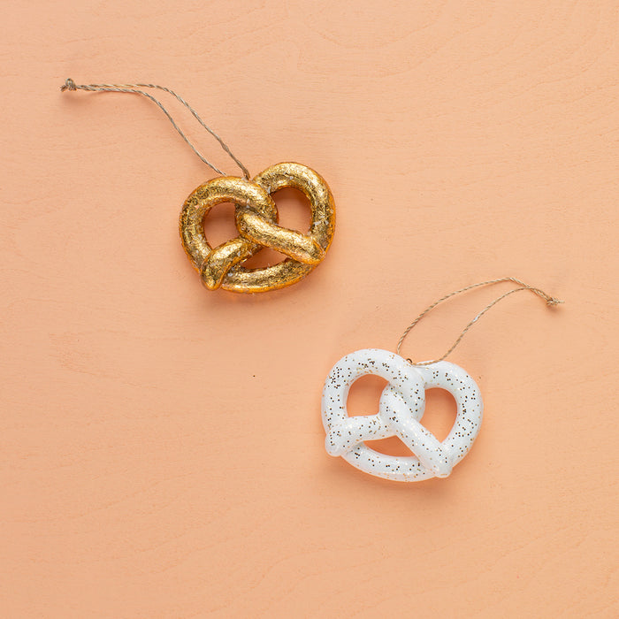 Pretzel Ornaments in Gold & White <br>Set of 2