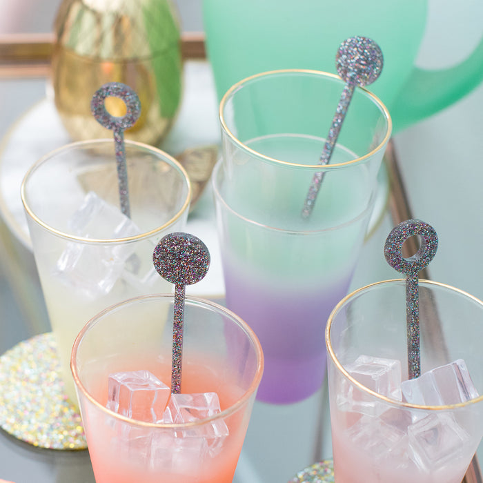 Swizzle Sticks in Rainbow Glitter<br>Set of 4 <br>by Anne & Kate