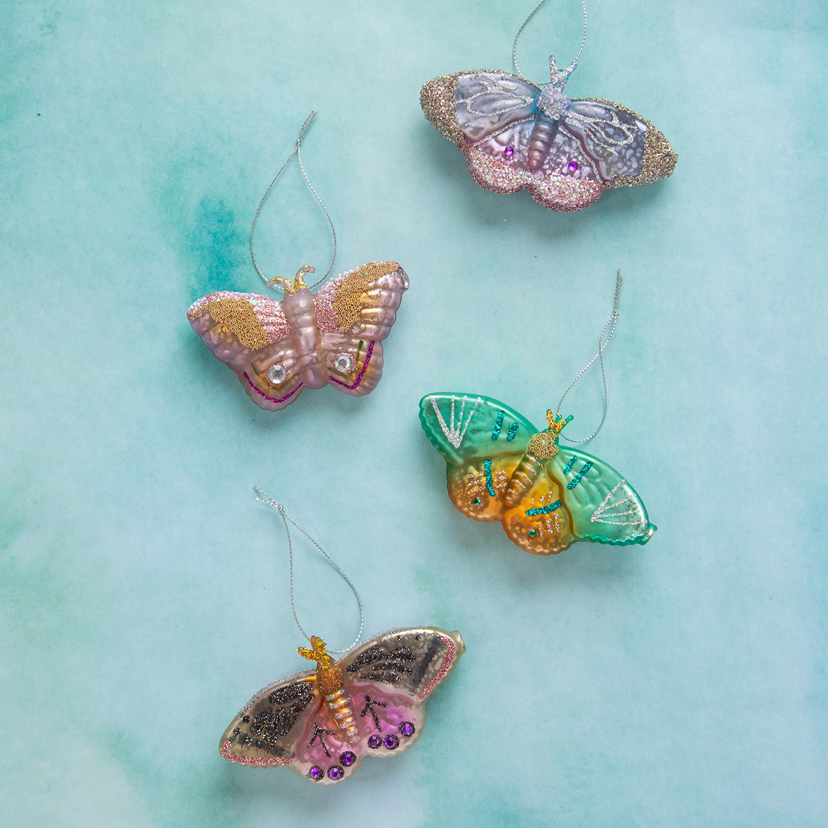 Jeweled Moth Ornaments <br> Set of 4