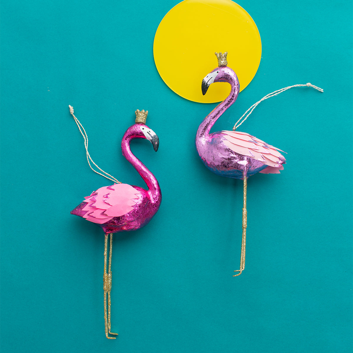 Sparkling Pink Flamingo with Gold Crown
