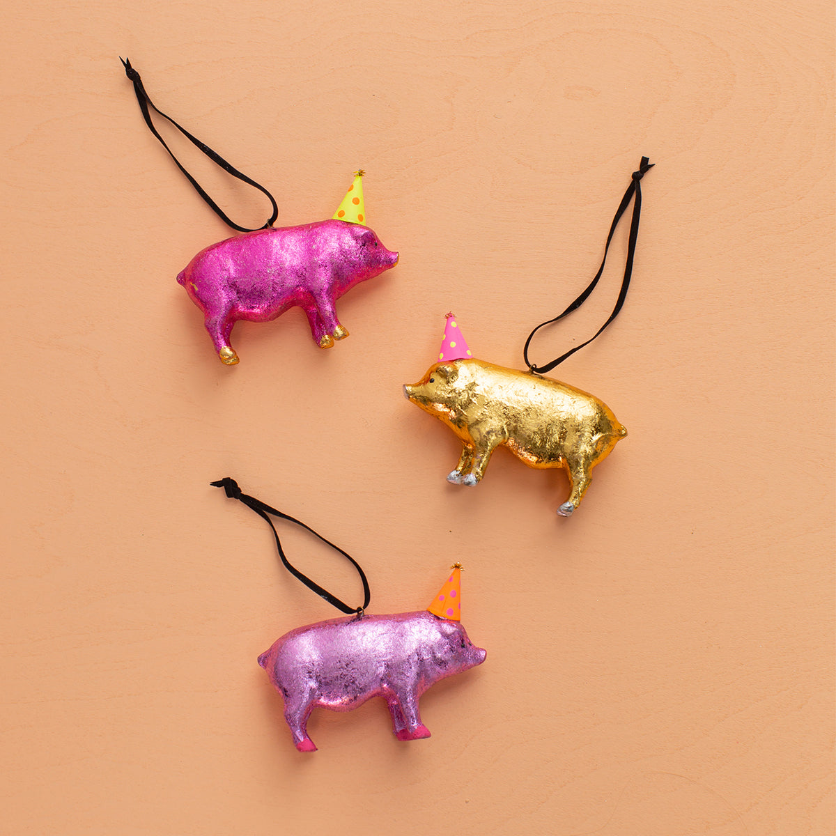 Party Pigs Ornaments<br>Set of 3