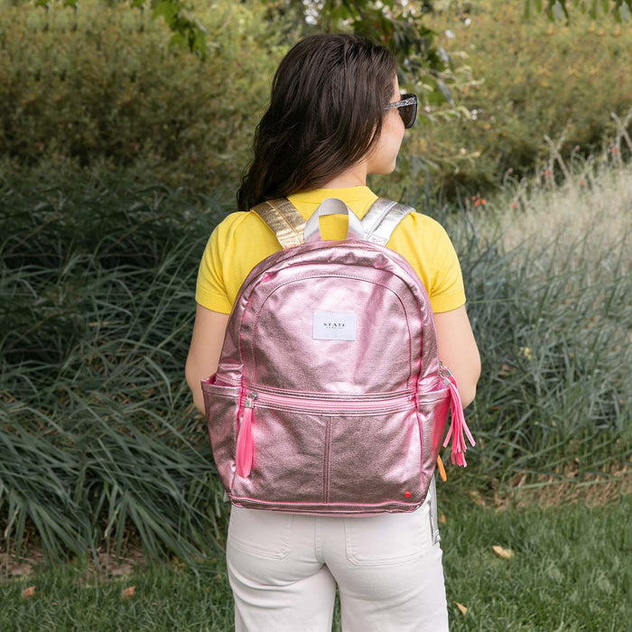 Kane Pink Metallic Backpack <br> by State