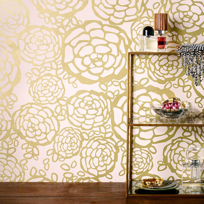 Oh Joy! for Hygge & West<br>Petal Pusher Wallpaper<br>Gold/Blush