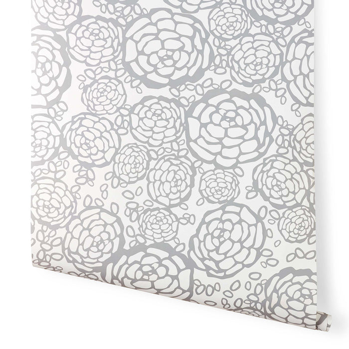 Oh Joy! for Hygge & West Petal Pusher Wallpaper Dove Gray/True white