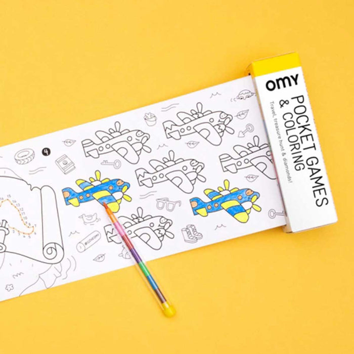 Pocket Games & Coloring Mini Roll in Atlas<br>by Omy