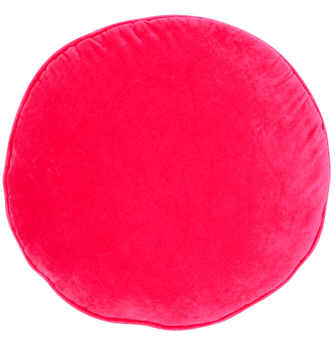 Hot Pink Velvet Penny Round Pillow<br>by Castle
