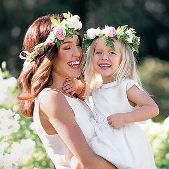 a218667757a Mom and Me Flower Headband 2017 Summer Style Newborn Headband Flower Crown  Mother Kids Matching Garland