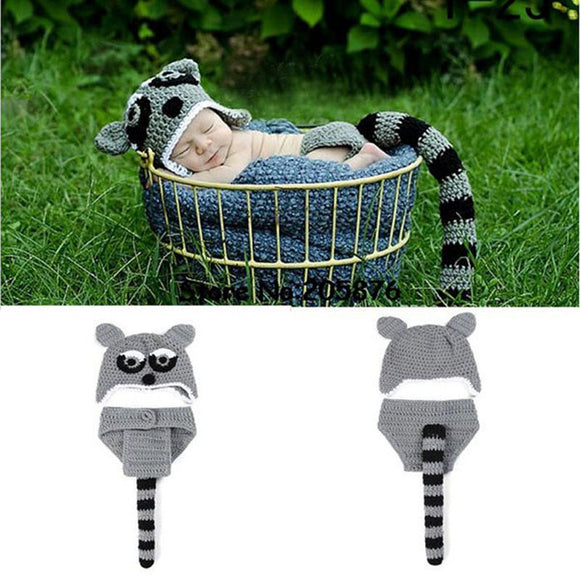 Animal Design Baby Newborn Photography Props Costume Outfit Crochet Knit Beanies Hat with Diaper Cover Funny Baby Hat H050