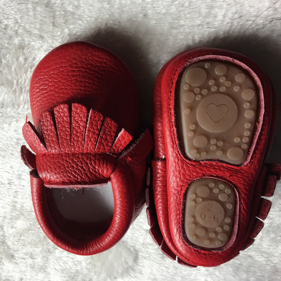 Toddler hard sole first walkers baby leather Shoes