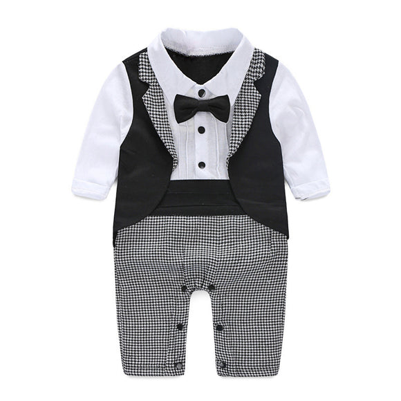 Baby Gentleman Tuxedo Rompers Bebe Menino infant Suit For Wedding Newborn Boys Jumpsuit Neck Tie Baby Wedding Suit Party Clothes