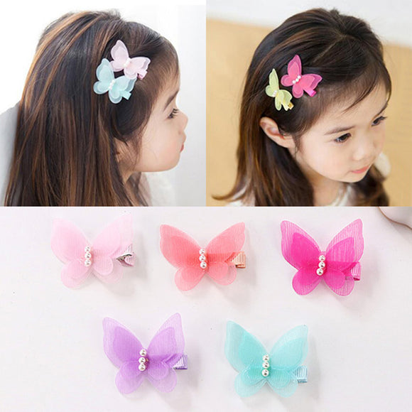 Colorful Butterfly Pearl Hair Clip Kids Children Headband
