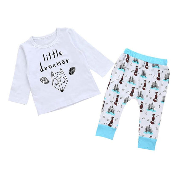 Baby girls clothes set Newborn Infant Baby Girl Boy Letter Fox T shirt Tops+Pants Outfits Clothes Set drop shipping