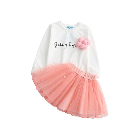 Fashion Lovely Girls White Tee Shirt and Pink Skirt With Rhinestone