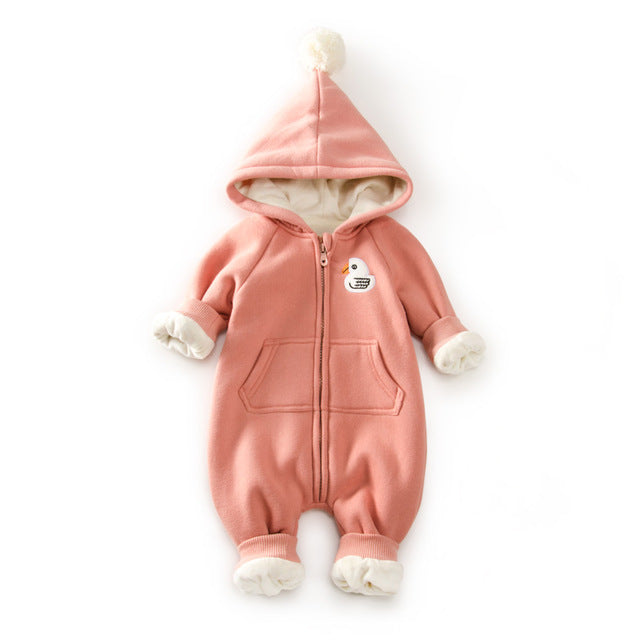 09aed9a8f Winter Warm Fleece Baby Romper Hooded Newborn Bear Pattern Baby Boy ...
