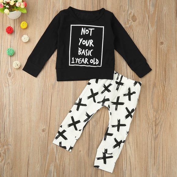 2 PCS Baby Boy Long Sleeve Tops +Pants Outfits baby clothing
