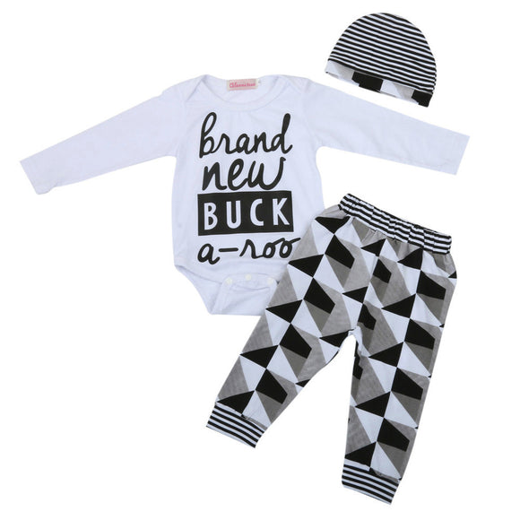3PCS bab Baby Girl Boy Letter Long Sleeve Romper+Pants+Hat