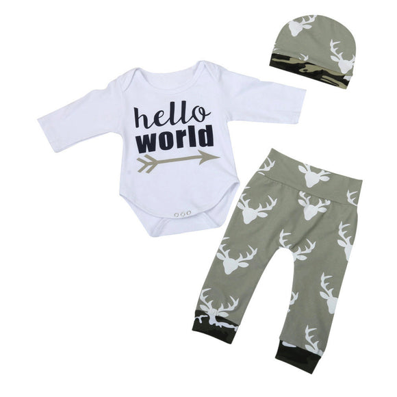 3 pieces set baby set Newborn Infant Baby Girl Boy Letter Long Sleeve Romper+Pants+Hat