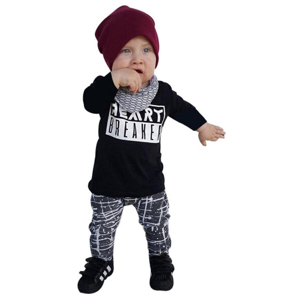 Baby Boy Set Long Sleeve Tops+Plaid Pants Baby Clothing