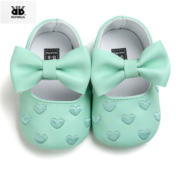 Babies Shoes PU leather Princess Embroidery Bowknot